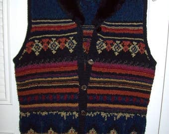 Vintage Fair Isle Hand Knitted Sleeveless Sweater Vest by Harold's. Fantastic Vintage Size S - M 10 - 12