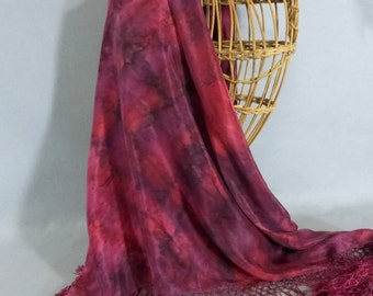 "Hand Painted Silk Fringed Shawl/Scarf ""Soft Red Blend"""