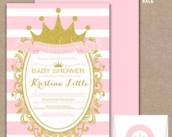 Princess Baby Shower, Royal Baby Shower, Princess Baby Shower Invitation, Princess Baby Shower Invite, Baby Shower Invitation, Pink, #0018