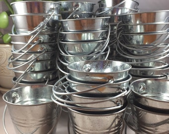50 Cute Mini Metal Tin Pails - Wedding Favors - Buckets, Planters, Pots - DIY