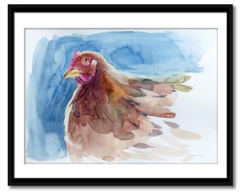 Original watercolor painting, red hen painting, watercolor bird, contemporary art
