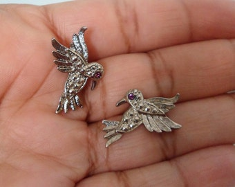 Mint Vintage Hummingbird Earrings Avon Earrings Flying Birds Turkish Marcasite Earrings Brushed Silver Earrings Small Bird Stud Earrings