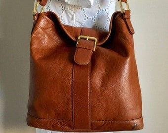 Vintage Lauren Ralph Lauren Brown Leather Hobo  Shoulder Bag Purse