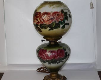 Vintage Hand Painted Gone with the Wind Parlor Hurricane Lamp for Repair
