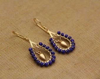 Lapis Earrings, Gold Vermeil link Earrings, Blue and Gold Earrings