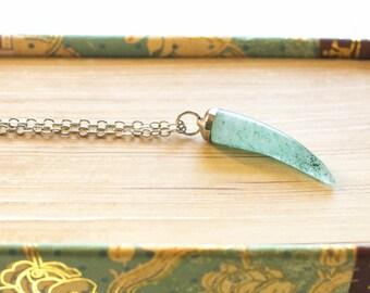 SEA GREEN TUSK Necklace / Elephant tusk / Tusk necklaces / Elephant necklaces / Good luck charms / Bohemian necklaces / horn pendant