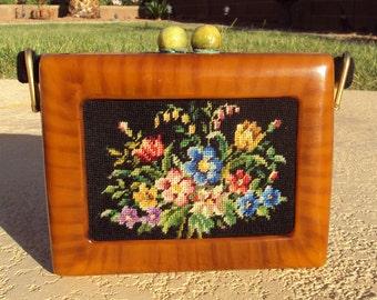 Original  Fre-Mor creations bakelite framed needlepoint box black floral purse