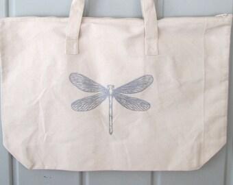 Cotton Canvas Tote, Cotton Tote, Dragonfly Tote, Insect Tote, Bug Tote, Dragonfly, Insect, Shopping Tote, Wedding Tote