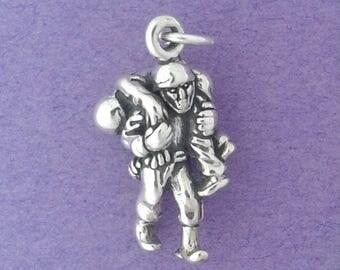 SOLDIER Carrying Wounded Warrior Charm .925 Sterling Silver Military Pendant - lp4625