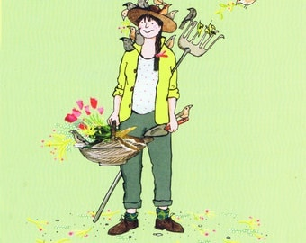 Green Fingers ..a gardening lady with flowers and birds . Whimsical Printed card from collage original