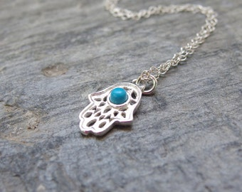 Hamsa necklace Hand of Fatima Hamsa Charm necklace Protection charm Hand of God Protection necklace Evil eye hamsa jewelry Silver hamsa hand