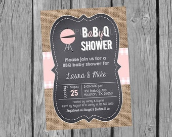 BBQ Baby Shower Invitation, Barbecue baby shower Invites, Pink and Burlap Baby Q invitations,  Couples Shower. Summer Invites. Digital file.