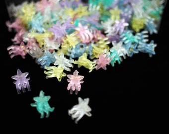 Frosted Star Mini Hair Clips / Pastel Goth Clothing, Kawaii Hair Clips, Retro Hair Clips, Plastic Hair Clips, 90s Vintage, Mini Claw Clips