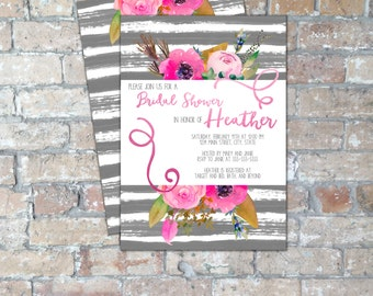 Pink Floral Bridal Shower Invite {Digital Item}