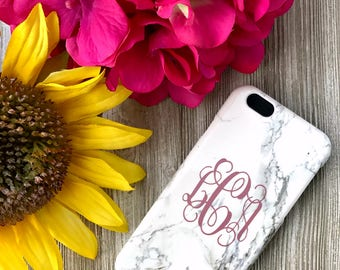 White Marble Phone Case with Vine Monogram | iPhone 7 | iPhone 7 Plus Case | Samsung Galaxy S7 S6 Edge S8 Plus | Personalized | Gift