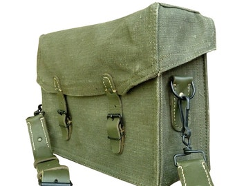 New Vintage 1950s French army canvas messenger shoulder bag satchel military dark leather