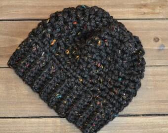 Cozy and Soft Black-multi Beanie