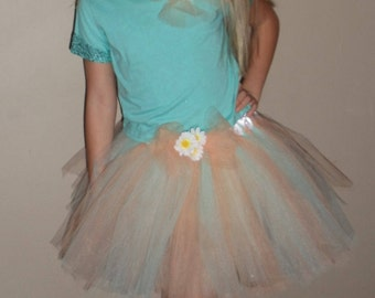Tutu Skirt in Mint Green and Peach with a shirt that is embellished with sequins and matching bow