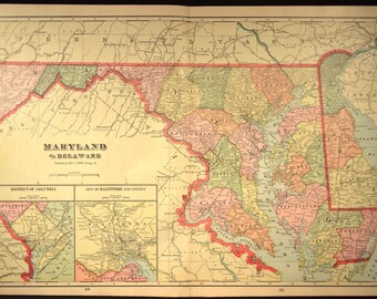 Maryland Map Maryland Delaware Map Antique LARGE Wall Decor