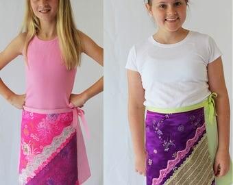 Girls skirt pattern, girl sewing pattern, tween pattern, girls woven pattern, girls skirt pdf, girls pdf pattern,wrap skirt pattern, skirt