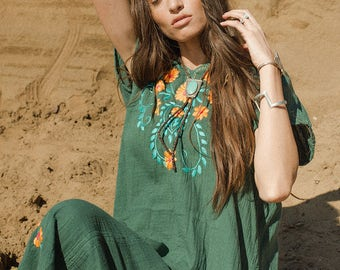 Embroidered Gauze Dress with Tassels Sage