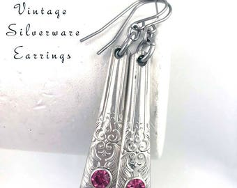 Silverware Earrings with Pink Rose Crystals Stainless Steel Ear Wires, Silver Spoon Handle Bridesmaid Jewelry Gifts Under 30 Gifts for Her