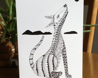 Howling Coyote, Coyote card, Southwest animal card, pen and ink, black and white
