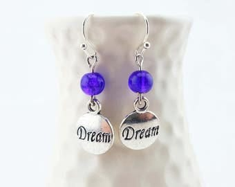 Dream earrings - inscribed with the word dream - dream jewelry - silver dangle earrings - handmade earrings - the word dream - dream charms