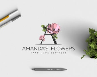 premade logo design · pink flower · floral logo · letter logo design · premade branding · small business logo