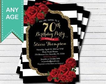 70th birthday invitation for lady. Red rose black and gold glam Valentine woman birthday invite. Any age. Printable digital file. AB146