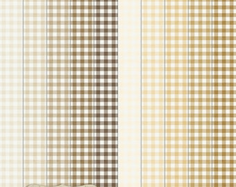 "Digital Printable Scrapbook Craft Paper - Gingham in Brown Shades - Plaid Tartan Beige Tan Cream - 12 x 12"" - PU/CU Commercial Use"