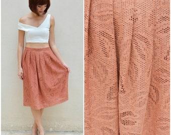 1970 Vintage Skirt/ Salmon Crochet Skirt/ Small Skirt/ Medium Skirt/ Japanese Vintage/  Hippie Boho Skirt/ Knee Length Skirt/ Pleated Skirt