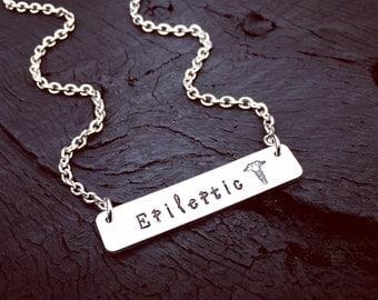 Epileptic Medical Alert Bar Necklace | Epilepsy Necklace | Epilepsy Jewelry | Diagnosis Gift | Gift For Epileptic | Medical Alert Jewelry