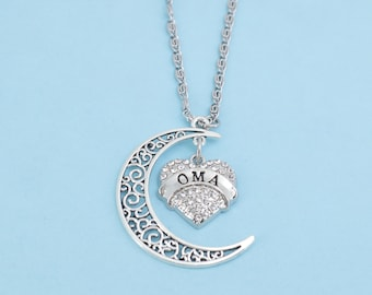 """Oma """"Love Her to the Moon and Back"""" Charm Necklace.  Oma Necklace.  Oma Charm.  Oma Jewelry.  Oma gifts.  Grandma gifts.  Grandmother."""