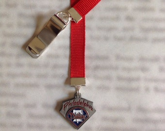 Philadelphia Phillies baseball bookmark with clip - Attach clip to book cover then mark the page with the ribbon. Never lose your bookmark!