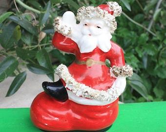 Vintage XL Christmas Ceramic Santa in Boot Figurine Gold Spaghetti Trim Nippon Yoko Boeki Japan Mid Century Collectibles Decorations