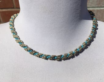 Handcrafted - Twisted Rope Necklace - Woven Beaded Necklace - Glass Seed Beads - Vintage Jewellery - Gift for Her - Blue - Silver