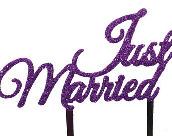 Just Married - Wedding cake topper with PURPLE GLITTER