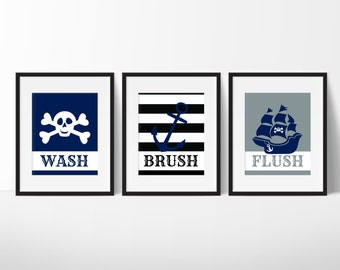 Pirate Bathroom Art Prints   Kids Bathroom Decor   Bathroom Decor   Skull  And Crossbones Print