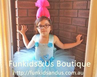 Trolls birthday dress - Troll inspired Tutu Dress - the trolls birthday tutu- Poppy Tutu Dress