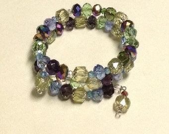 Memory Wire Cuff Bracelet ~ Cathedral Fire Polished Beads ~  OOAK