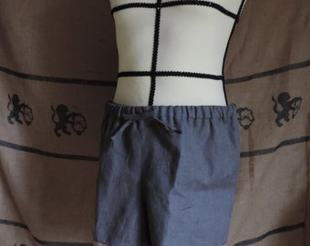 Boxer shorts for men in dark grey linen, viking style, medieval, roleplay