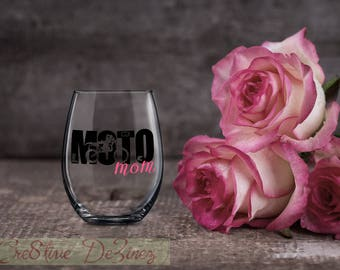 Moto Mom, Funny Gift for Mom, Mother Wine Glass, Motorcross Celebration Birthday Present, Wine Lover Gift