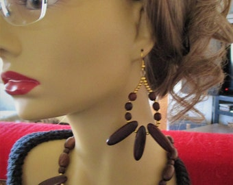 Natural Wood Necklace and  Earrings Set