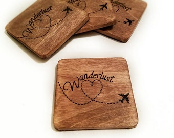 Set of 4 wood hand engraved WANDERLUST coasters
