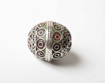 Large antique silver and enamel Moroccan Tagmoute or egg bead
