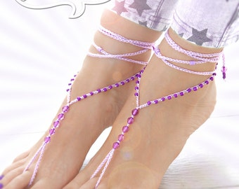 Beaded Barefoot Sandals, Barefoot sandals, Purple Lilac Barefoot Sandal, Handmade Anklet, Foot Jewelry, Beach Barefoot Sandals