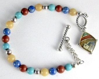 Vintage Carolyn Pollack Relios, Sterling Silver, Multi Gemstone, Decorative Southwestern Dangle Charm, Toggle Clasp