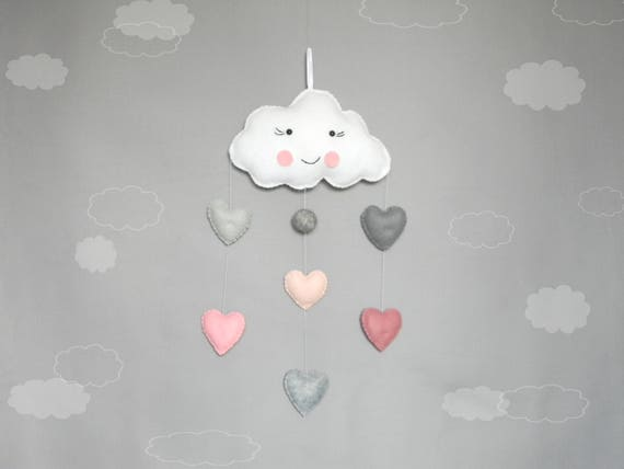 Cloud wall decor Clouds Baby Mobile Heart Baby Mobile Hanging