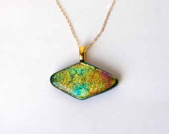 Fused Glass Pendant, Necklace in Yellow, Green and Orange,  Dichroic Jewelry
